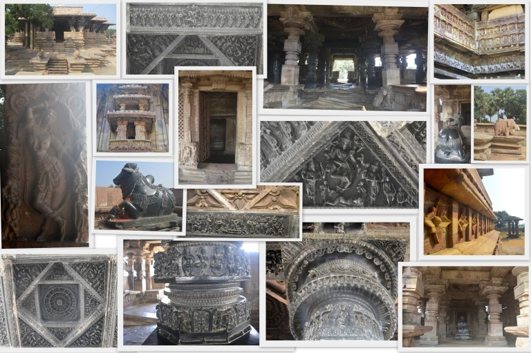 Interiors of Ramappa Temple and Nandi