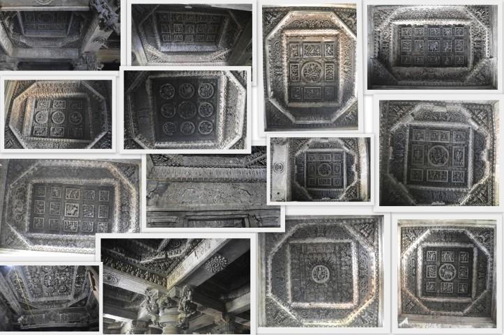 Ceiling designs inside the Hoysaleshwara & Shantaleshwara Temples